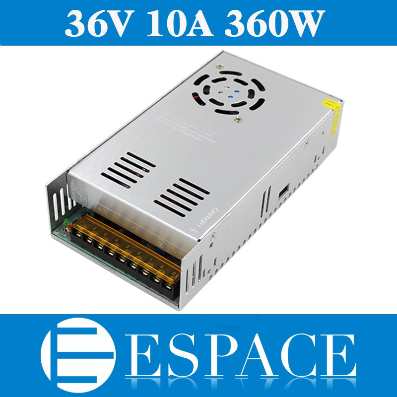 Best quality 36V 10A 360W Switching Power Supply Driver for CCTV camera LED Strip AC 100-240V Input to DC 36V free shipping