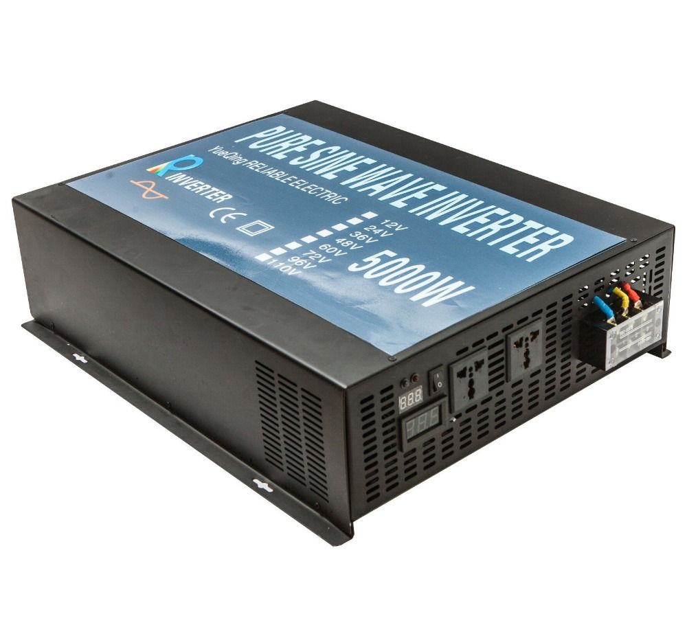 Solar Inverter 5000W 12V 220V Pure Sine Wave Inverter Generator Battery Power Bank 12V/24V/48V DC to 120V/220V/240V AC Converter