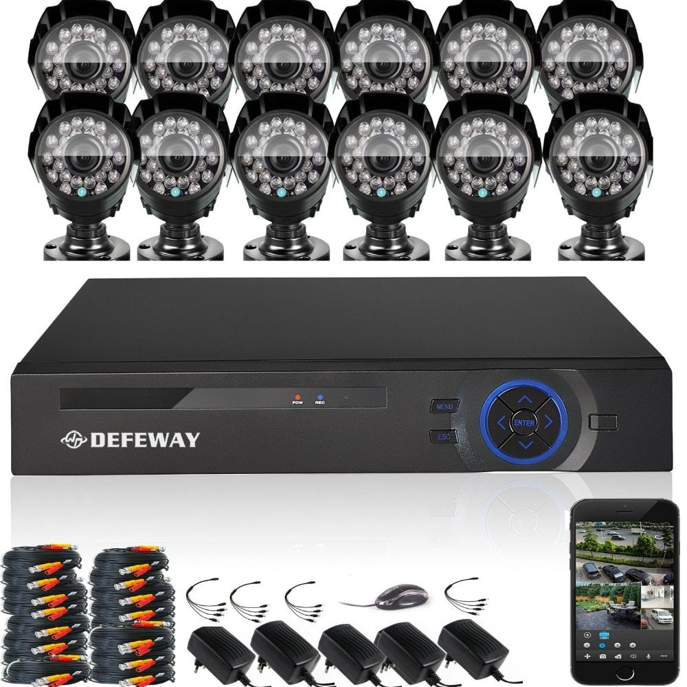 DEFEWAY 12 1200TVL 720P HD Outdoor CCTV Security Camera System 1080N Home Video Surveillance DVR Kit 16 CH 1080P HDMI Output