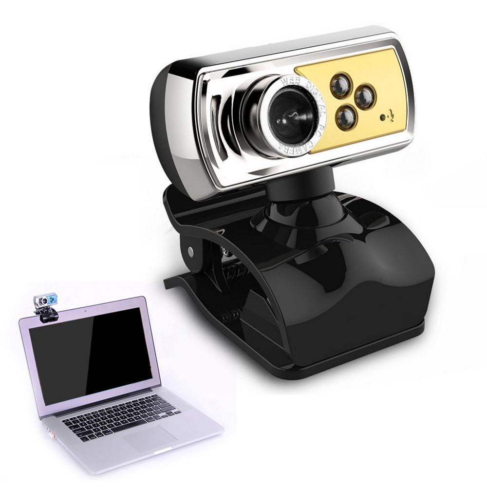 High Quality 12.0 MP HD Web Camera 3 LED USB Webcam with Mic & Night Vision for PC Laptop  Blue