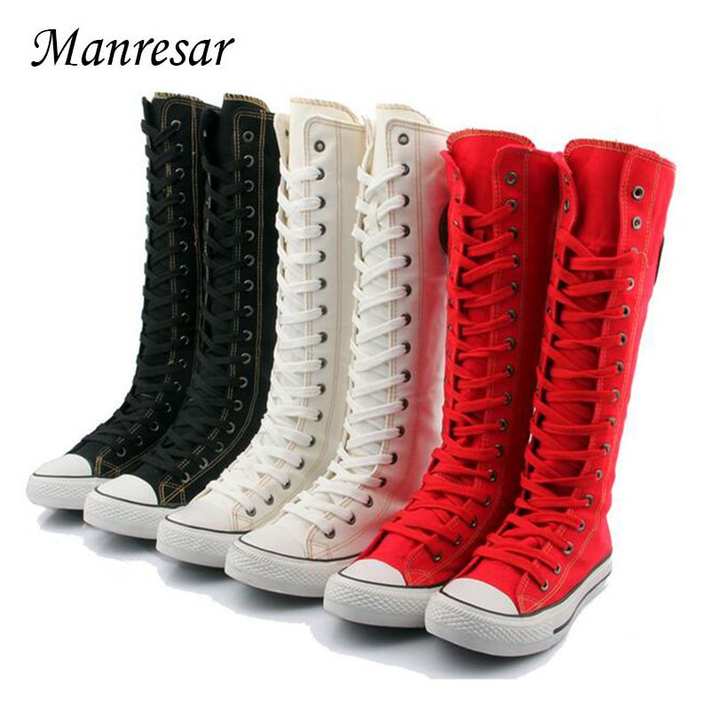 Manresar 2017 New Fashion 7Colors Women's Canvas Boots Lace Zip Knee High Boots Women Boots Flats Casual Tall Punk Shoes Girls