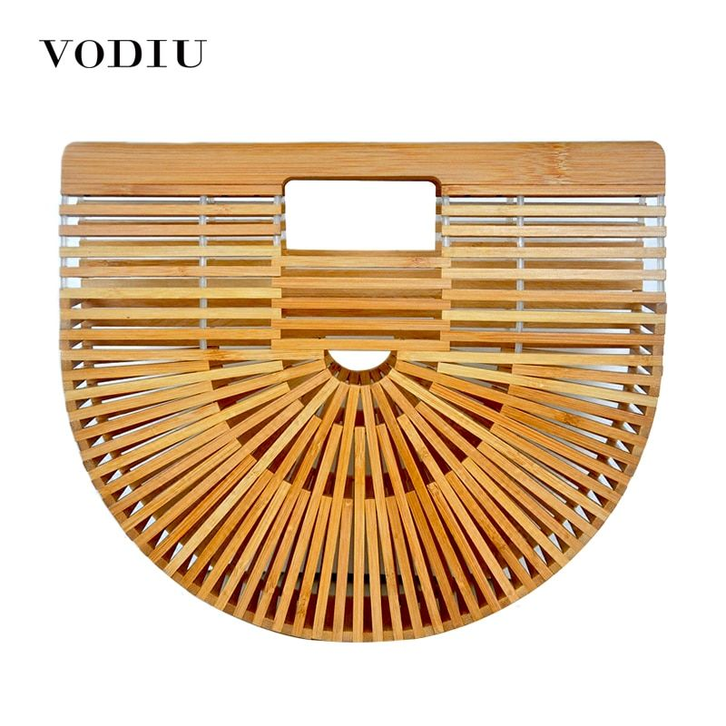 Women Handbag Female Big Travel Vacation Totes Bamboo Handbag For Ladies Handmade Woven Beach Bag Women Summer Women's Purse