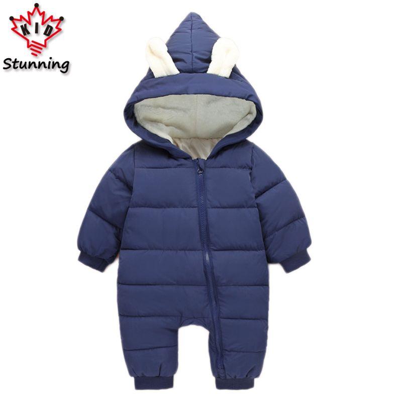 6 м-24 м пальто для девочек и мальчиков бренд 2017 Зимняя одежда для малышек детские для маленьких мальчиков Комбинезоны для малышек Пальто для ...