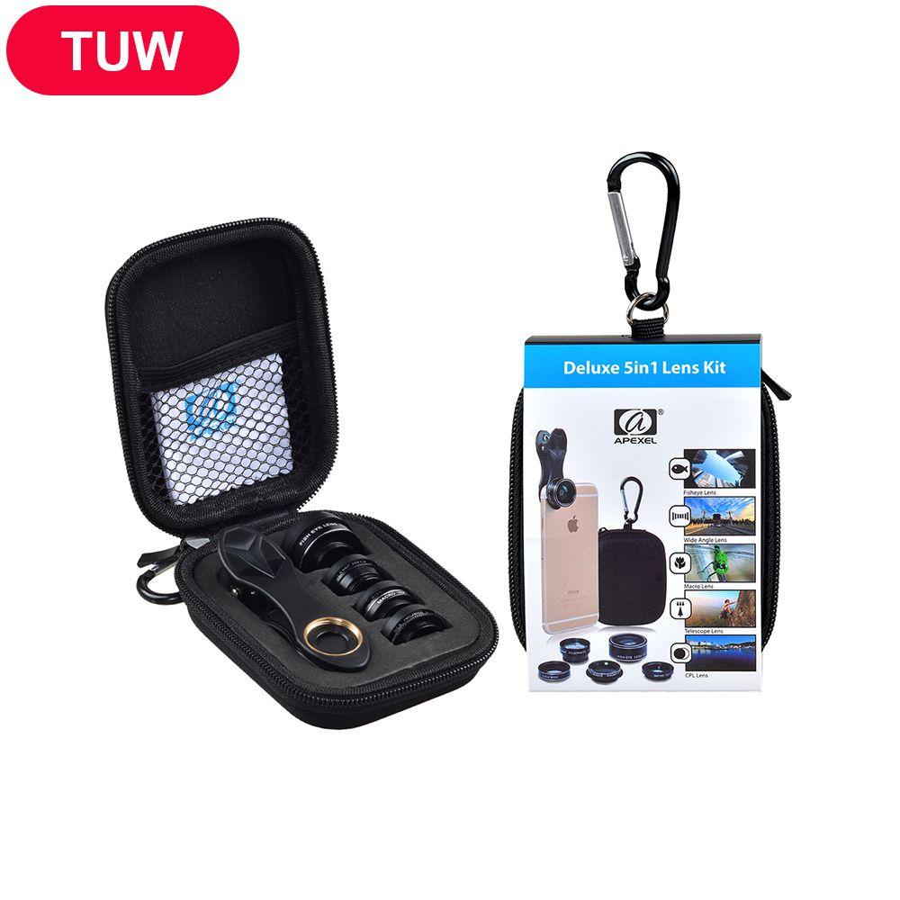 APEXEL HD Camera Lens Kit 5 en 1 pour iPhone 6/6 s 6/6 s Plus SE Samsung Galaxy S7/S7 Bord S6/S6 Bord et D'autres Android Smart téléphone