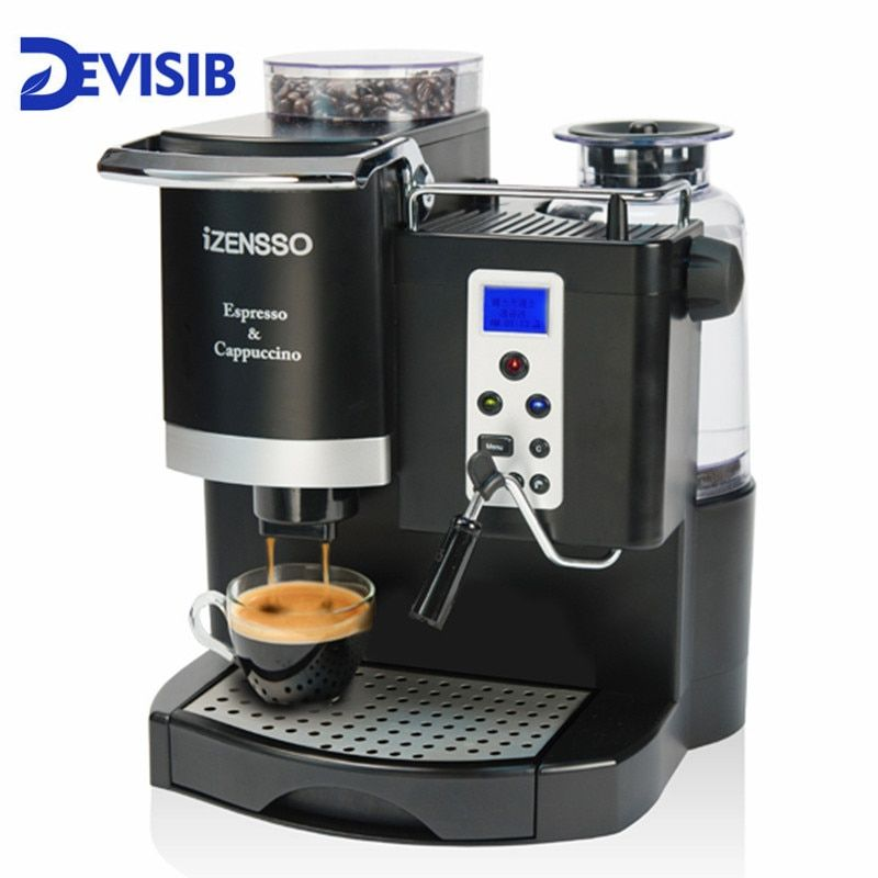 DEVISIB 20BAR Automatic Espresso Coffee Machine Maker with Bean Grind and Milk Froth Maker for Office or Small Coffee Shop
