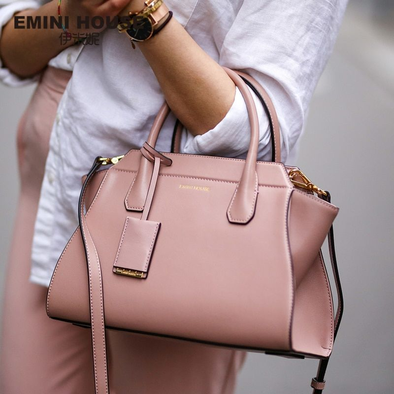 EMINI HOUSE Split Leather Shoulder Bag Fashion Trapeze Women Messenger Bags Handbag Women Famous Brands Crossbody Bags For Women
