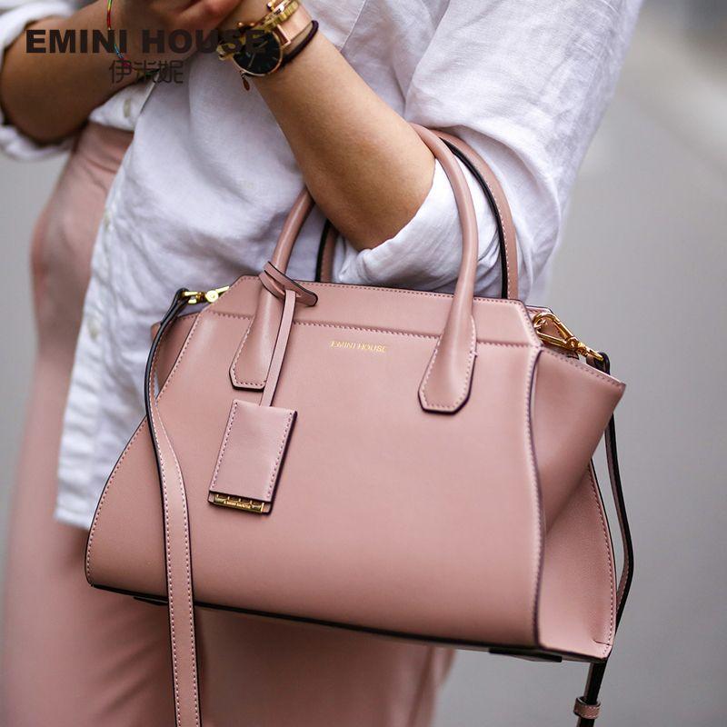 EMINI HOUSE Split Leather Shoulder Bag Fashion Trapeze Women Messenger Bags Handbag Women Famous Brands Crossbody Bags For Women