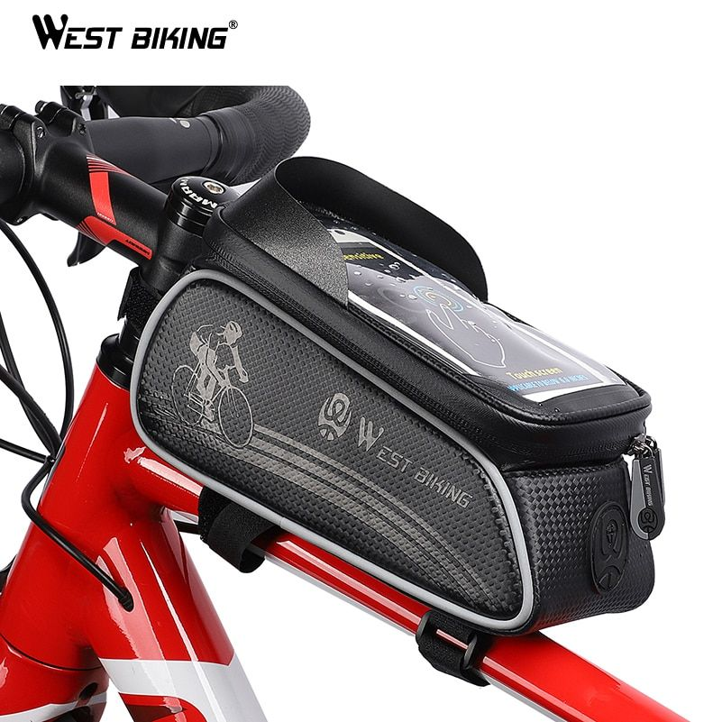 WEST BIKING Bicycle Bag Cycling Top Front Tube Frame Bag Waterproof 6.0 inches Phone Case <font><b>Storage</b></font> Touch Screen MTB Road Bike Bag