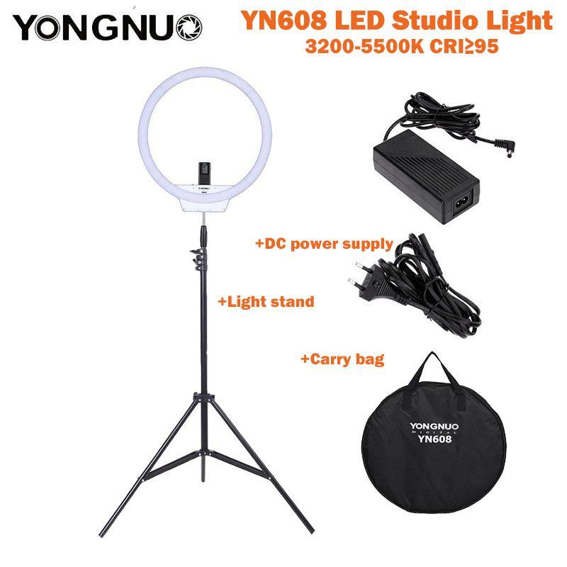 YongNuo YN608 LED Studio Ring Video Light 3200K~5500K Wireless Remote CRI>95 Photo Lamp + Carry Bag + Power Adapter+ Light Stand