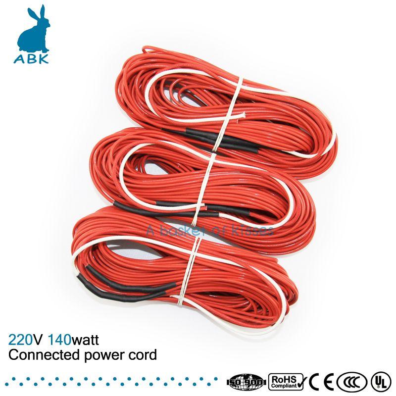 F24K 20 mètres 140 w 17ohm fil chauffant en fiber de carbone PTFE téflon connecté cordon d'alimentation fil chauffant câble chauffant