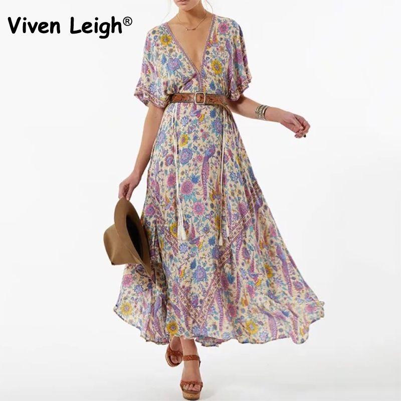 Viven Leigh Boho Floral Print Long Dress Retro Bohemian Maxi Dress Sexy Ethnic Deep V-neck Beach Dresses Hippie Robe