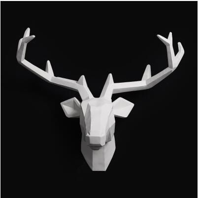 2018 Time-limited Home Decoration Accessories Furnishing Wood Resin Animal Head Hanging Pendant Bar Mural Deer Living Room Wall