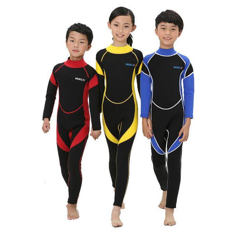 New 2.5MM Long Sleeves Neoprene Wetsuits Boys Girls Surfing Children Rash Guards Snorkel Kids One-Piece Swimwears Diving Suits