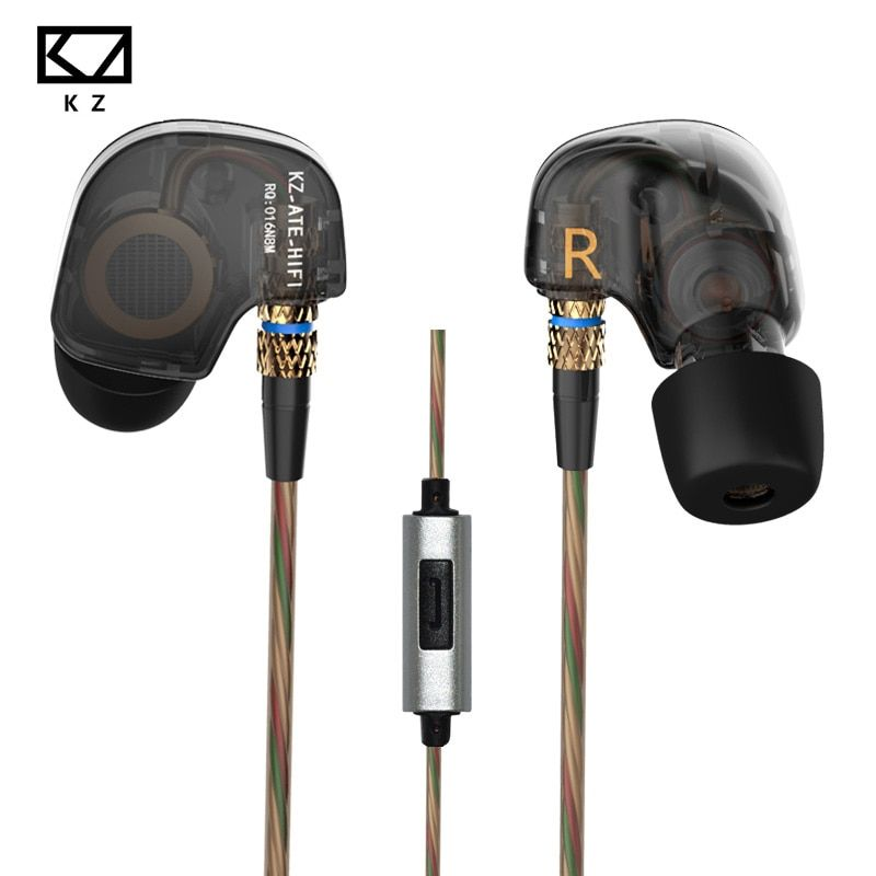 Original KZ ATR Earphone Inear Sports Headsets HIFI music Earbuds With Mic Noise Canceling gaming headset cellphone earphones