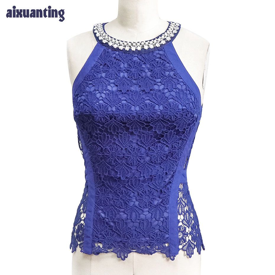 Mujeres de Gasa Diamante Camisa de Encaje Sin Mangas Con Cuentas Del O-cuello Back Zipper Pink Fashion Summer Blue Lace Top Sexy Party Out Hollow