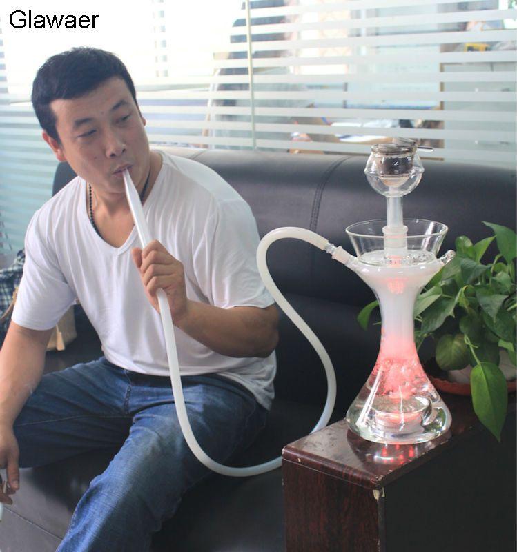 2016 plus stable Glawaer Marque narguilés verre shisha narguilé avec bol, pipe en verre avec blanc silicone tube Smooking tuyau