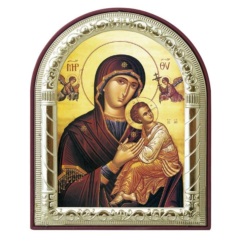 Personnalisable icône grecque orthodoxe vierge marie et ange images plaqué argent métal or sur plastique Art religieux cadeau chrétien