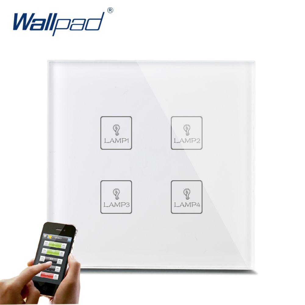 Smart WIFI 4 Gang Commutateur Nouveau Design Wallpad Blanc Cristal Verre 4 Gang Téléphone Sans Fil APP À Distance WIFI Touch Control interrupteur de lumière