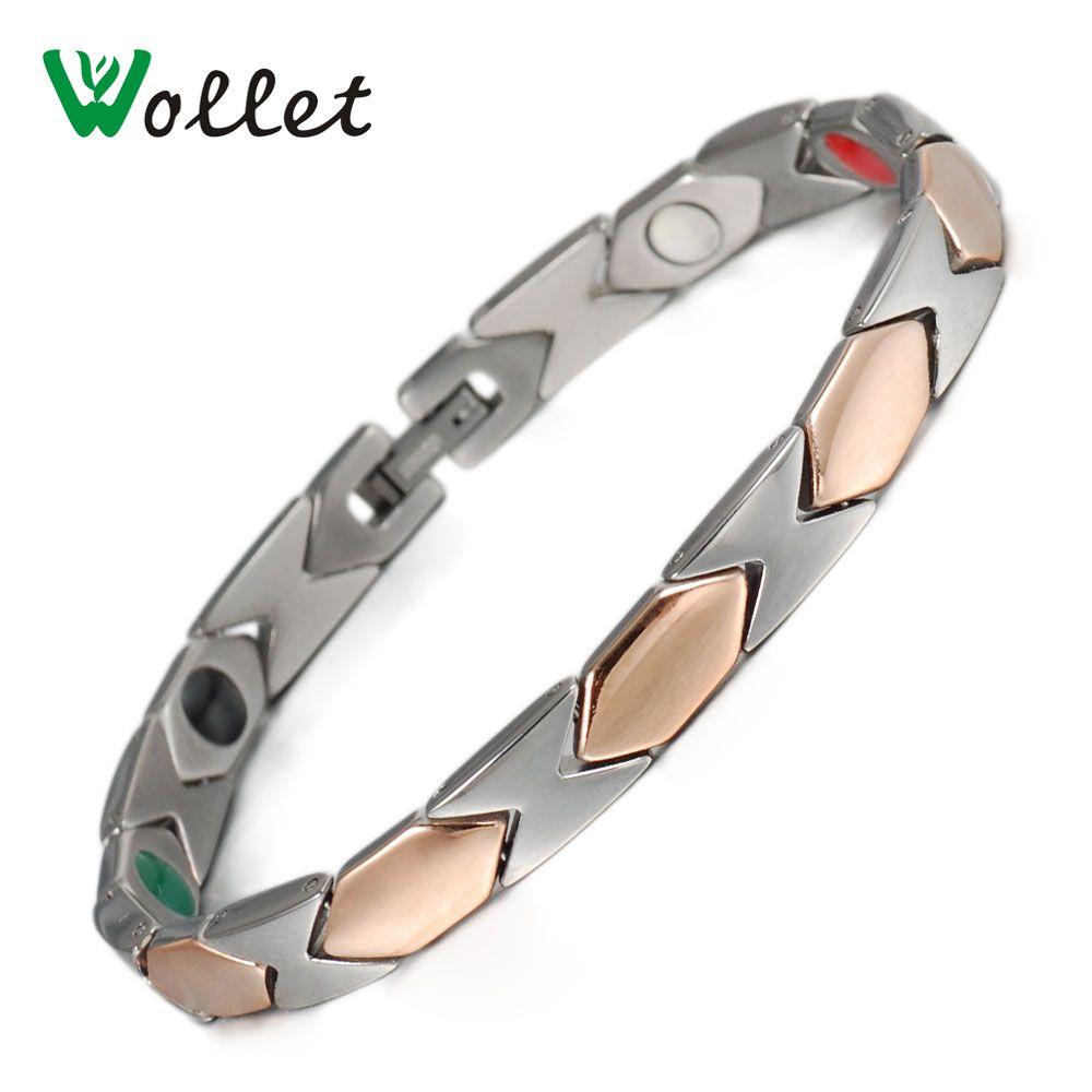 Wollet bijoux Bio magnétique pur titane Bracelet pour femmes métallique couleur or Rose tous les aimants 5 en 1 Germanium Tourmaline