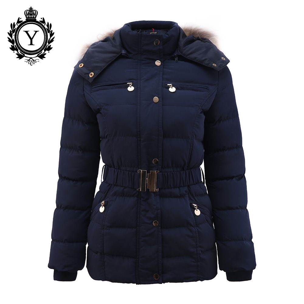 COUTUDI New Arrival Winter Jacket Women Slim Thick Warm Stylish Jacket Coats Lady With Fur Hooded Belt High <font><b>Quality</b></font> Down Jackets