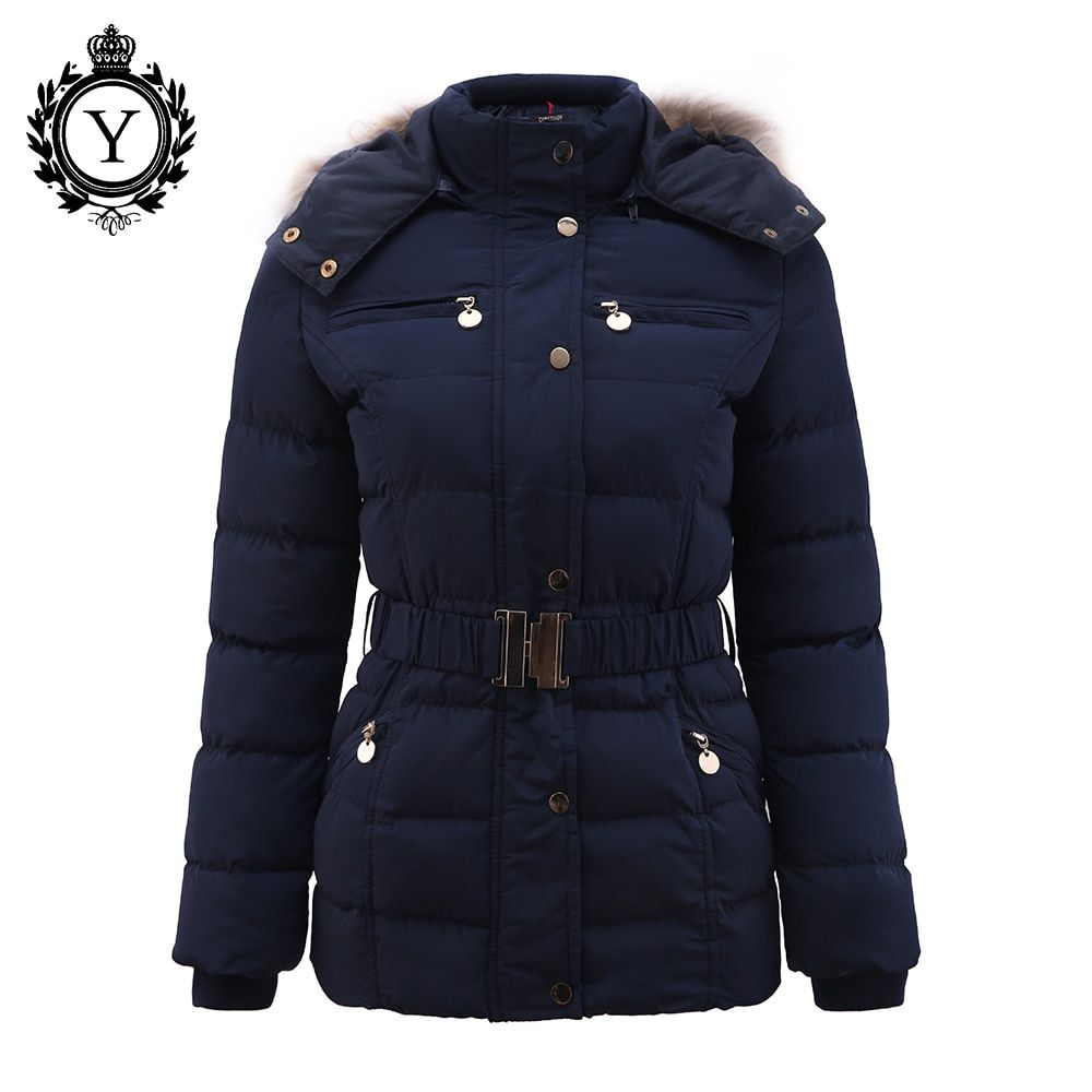 COUTUDI New <font><b>Arrival</b></font> Winter Jacket Women Slim Thick Warm Stylish Jacket Coats Lady With Fur Hooded Belt High Quality Down Jackets