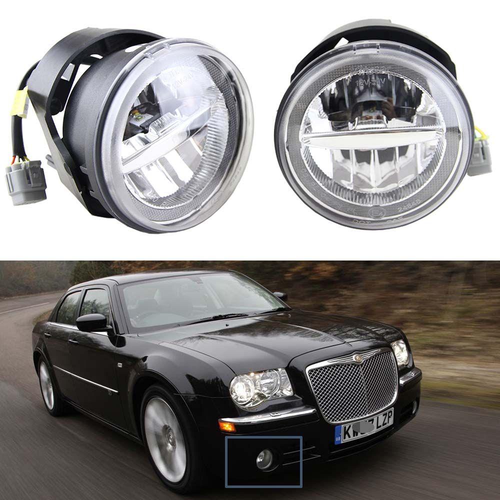 1 Pair 10W 12V Led Fog Light with DRL Halo Angel eyes For Chrysler 300 C SRT8 Sedan 4-Door 2005 6000K white with E4 Approved