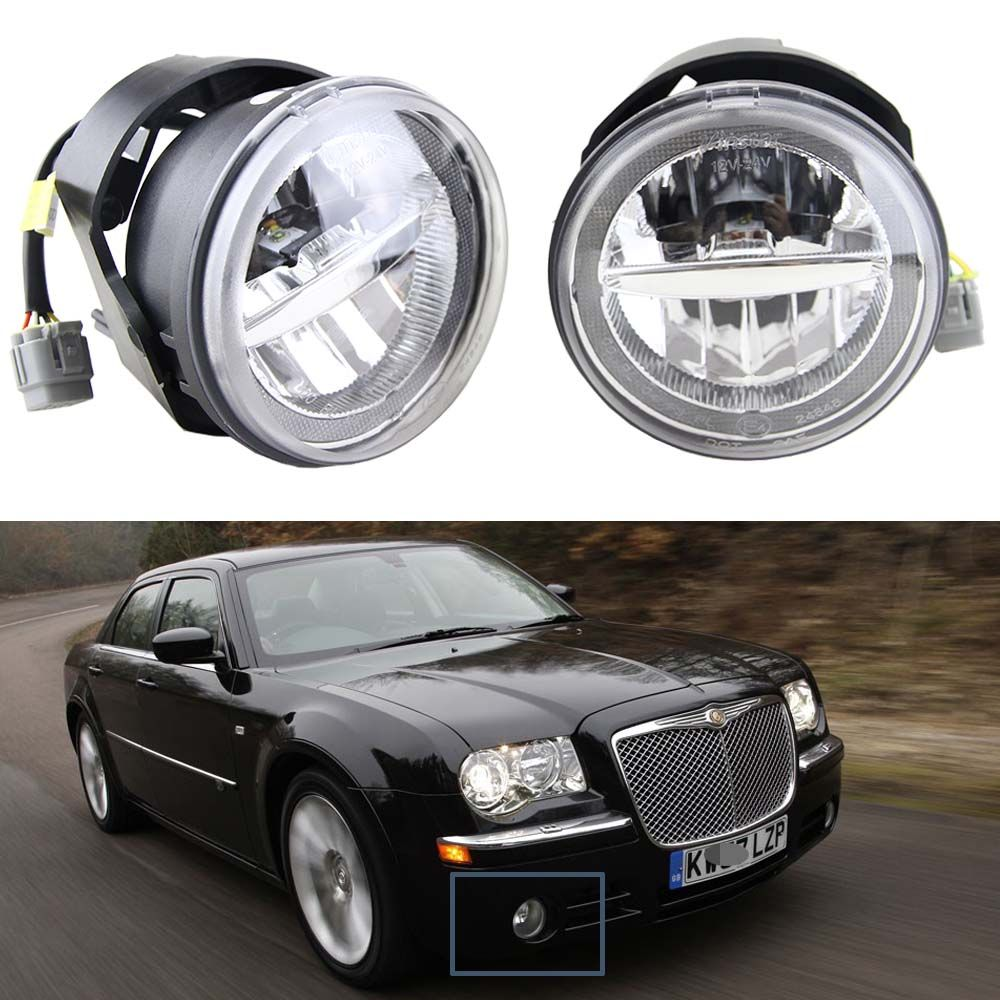 1 Pair 10W 12V Led Fog Light with DRL Halo Angel eyes For Chrysler 300 C SRT8 Sedan 4-Door 2005 6000K white with E4 Approved