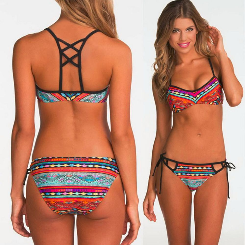 2017 Stylish Popular Women Sexy Bandeau Bikini Set Push-Up Bra Swimsuit Retro Beachwear Swimwear Best Price