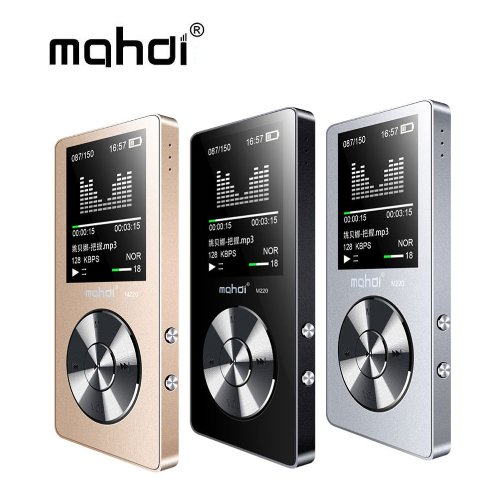 Махди M220 металла MP3-плееры Портативный цифровой аудиоплеер с 1.8 дюймов Экран FM Электронная книга часы данных музыкальный плеер спикер TF карт...
