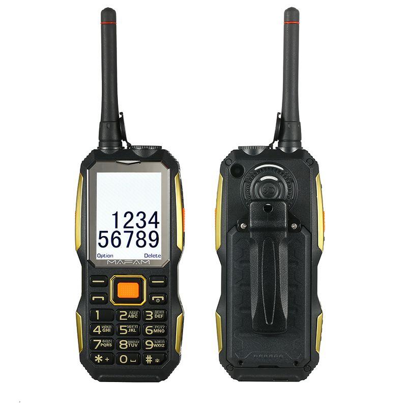 Mobile téléphone portable avec UHF Talkie Walkie sans fil avec clip ceinture Tachygraphe puissance banque facebook Robuste antichoc extérieure P156