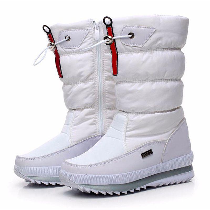 Bottes de haute qualité pour femmes 2018 nouvelle plate-forme imperméable antidérapante bottes de neige blanc femmes chaussures d'hiver