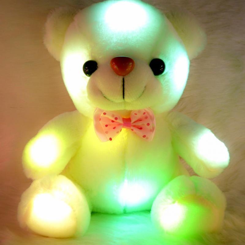 Neue Ankunft 20 CM Buntes Glühendes LED-Blitz Plüsch Baby spielzeug Leuchten Ausgestopften Bären Teddybär Schöne Geschenke für kinder