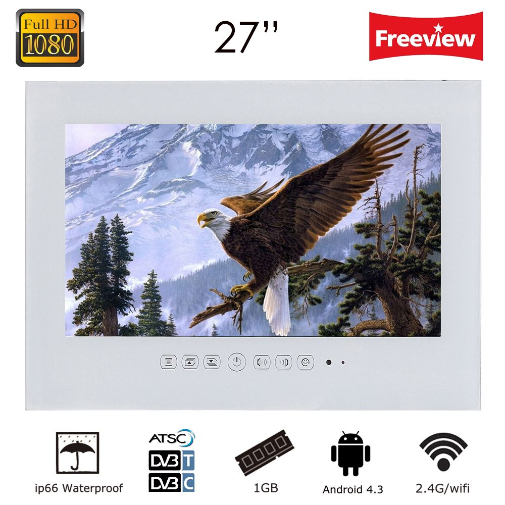 Souria 1080P Full HD 27 inch WiFi Android 4.2.2 Smart Internet Waterproof bathroom TV Black/White ip66 Glass Panel