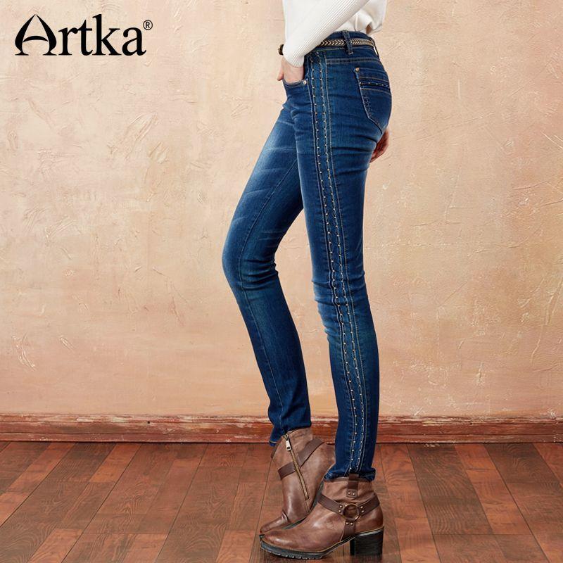 Artka осень 2017 г. и зимний свет мыть эластичные универсальные сбоку Вышивка Длинные прямые повседневные джинсы