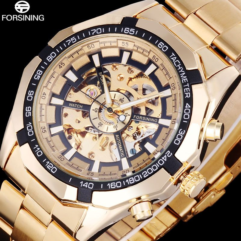 FORSINING Business Men Skeleton Automatic Watches Gold Stainless Steel Mechanical Watches Male Dress Clock Relogio Masculino