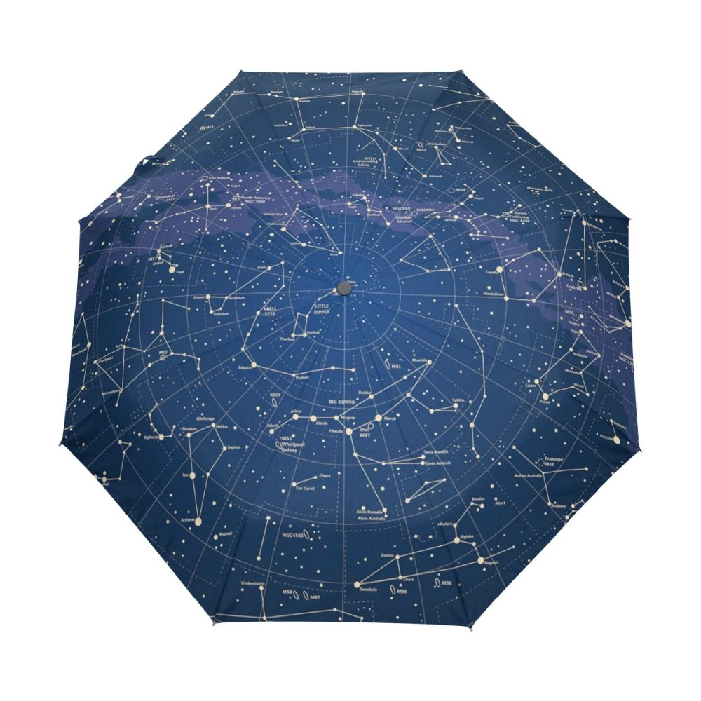 2017 Creative Automatic 12 Constellation Universe Galaxy Space Stars Umbrella Star Map Starry Sky Folding Umbrella for Women