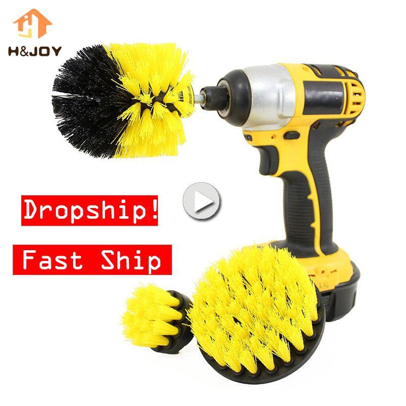 Brosse de nettoyage de perceuse de brosse d'épurateur de puissance de 3 pièces/ensemble pour la salle de bains de voiture