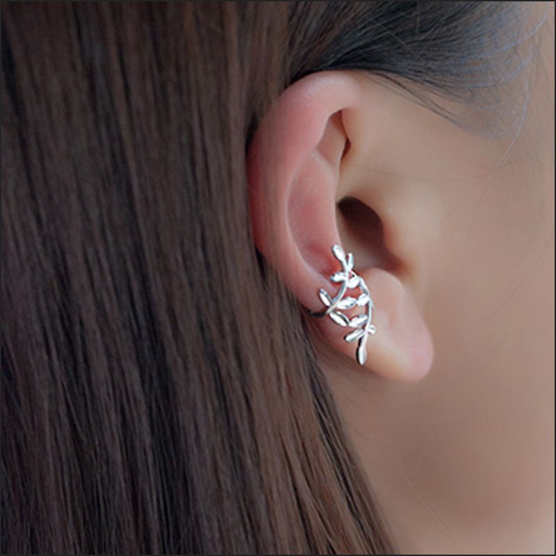ROCKART Authentic S925 Sterling Silver 1PCS Personalized No Piercing Laurel Earrings New Fashion Cool Ear Cuff