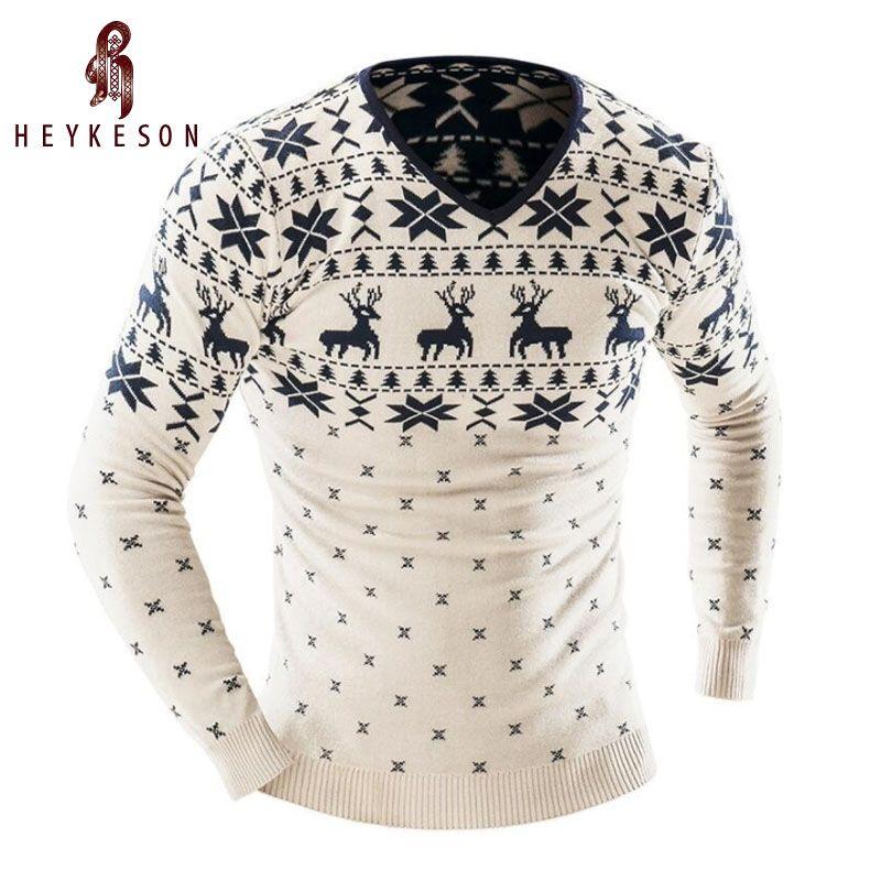 HEYKESON 2017 Men'S Fashion Animal Print Sweater Men Leisure Slim V-Neck Long-Sleeved Solid Sweater Men XXL YU