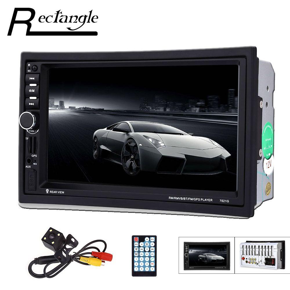 7021G 2 Din Car Radio Vehicle MP3 Multimedia Player Bluetooth FM USB GPS Remote Control Touch Screen Car Audio Rear View Camera