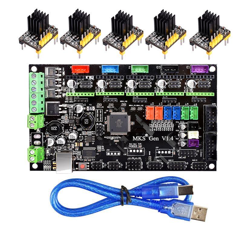3D Printer MKS Gen V1.4 Control <font><b>Board</b></font> Mega 2560 R3 motherboard RepRap Ramps1.4 +TMC2100/TMC2130/TMC2208/A4988/DRV8825 Driver