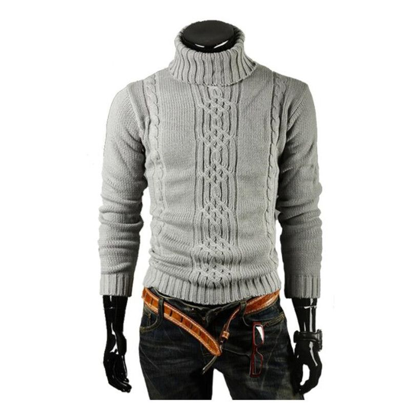 Sweater Pullover Men 2017 Male Brand Casual Slim Sweaters Men Solid High Lapel Jacquard Hedging Men'S Sweater XXL