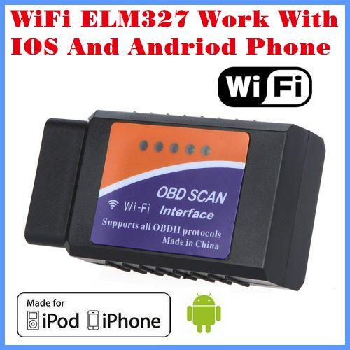 [Бесплатная доставка] Новое поступление 2017 года код читателя инструмент диагностики Wi-Fi ELM327 WiFi работает с Iphone и Android OBD-II БД может