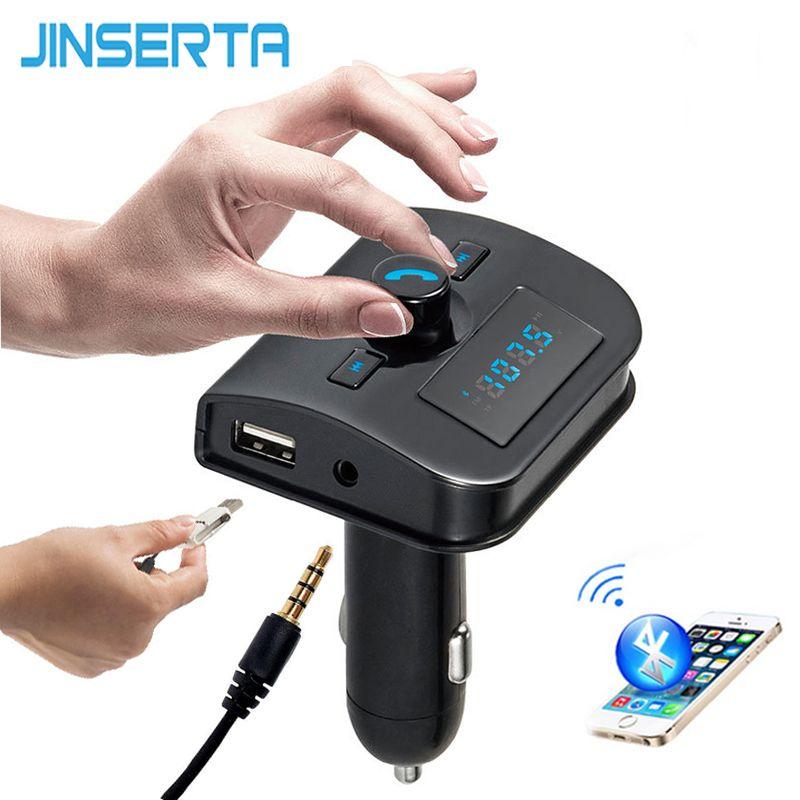 JINSERTA 4-in-1 Hands Free Wireless Bluetooth FM Transmitter + AUX Modulator Car Kit MP3 Player TF USB LCD Car Accessories