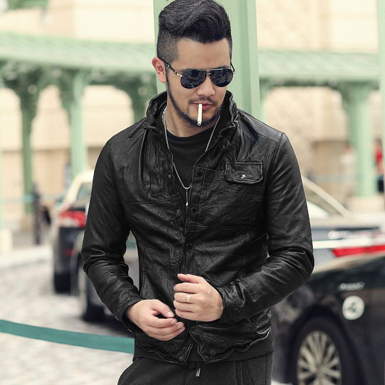 Men's Autumn and Winter Sheepskin Casual Retro Fold Sheepskin Leather Jacket Men Slim Fit Black Genuine Leather Jacket L1826