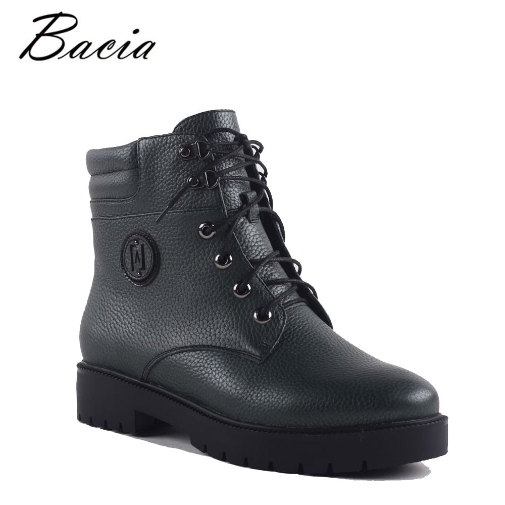 Bacia Winter Mid-Calf Warm Wool Fur Boots Genuine Full Grain Leather Snow Boots Shoes Women High Quality Med Heels Boots SA071