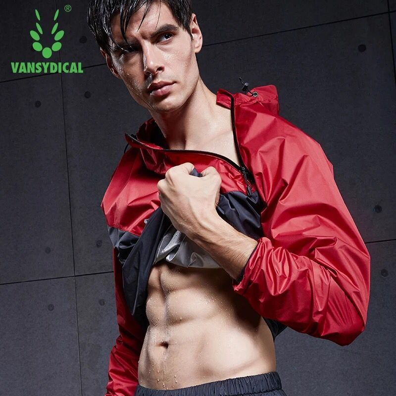 Vansydical Men Running Jackets Hoody Long Sleeve Sports Coat Sportswear Hot Sweat Suit Training Fitness Exercise Gym Tops Jacket