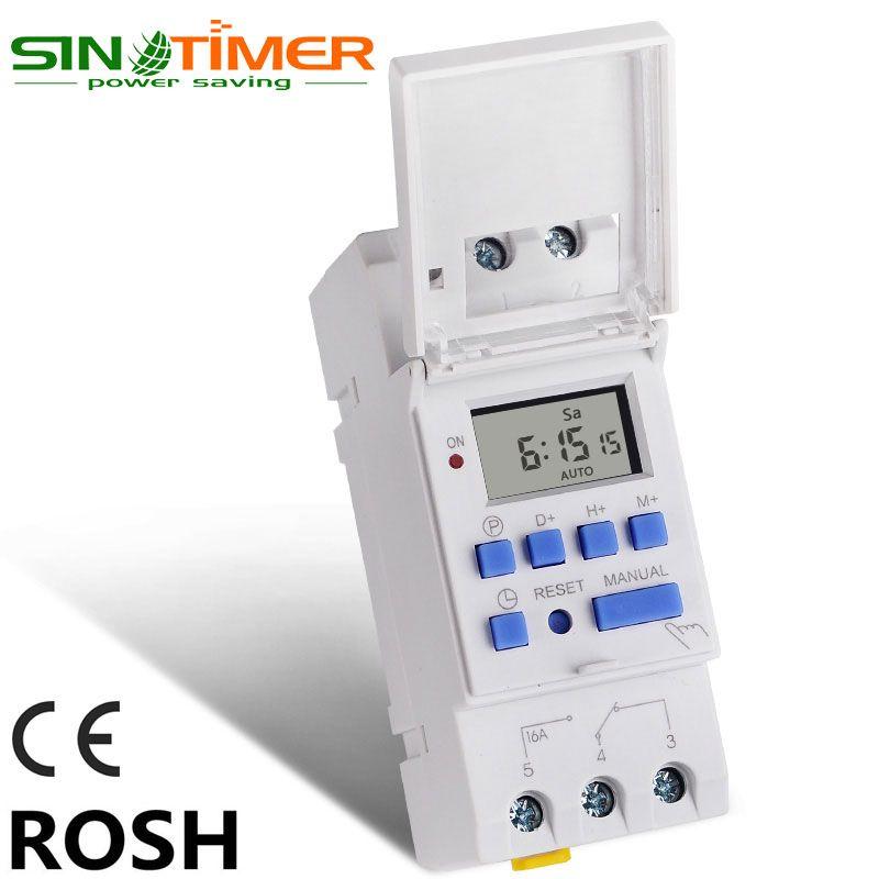 SINOTIMER marque micro-ordinateur électronique hebdomadaire Programmable numérique minuterie interrupteur temps relais contrôle 220 V AC 16A Din montage sur Rail