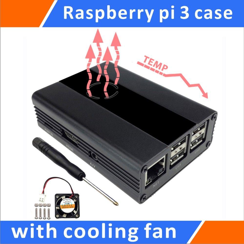 Raspberry Pi 3, Pi 2, B + Boîtier En Aluminium Avec Ventilateur (Noir)