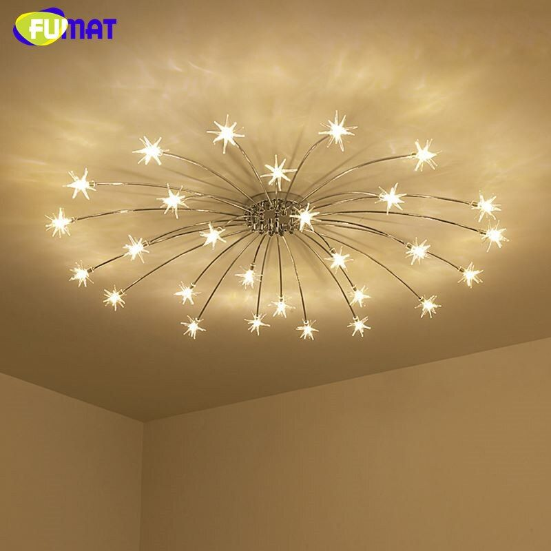 FUMAT Modern Round G4 LED Crystal Glass Stars Ceiling Lights Living Room Ceiling Lamps Bedroom Crsytal Starry Sky Light Fixtures